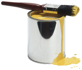 tin of yellow paint